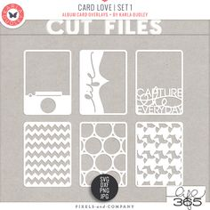 #papercraft #Silhouette #cutfiles Card Love | Set 1 - cut files