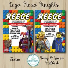 Lego Nexo Knights Invitation. Choose from 8 by Kardography on Etsy