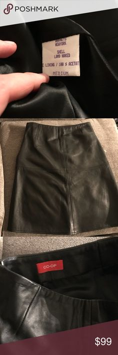 Barney's CO-OP knee length black leather skirt Only worn once. In great condition. Black Barney's skirt Barneys New York CO-OP Skirts Pencil