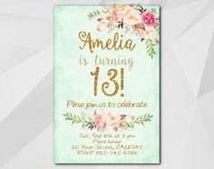 13th Watercolor Turquoise/Gold Birthday