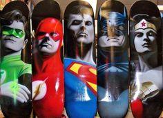 Airbrushed superhero skateboards