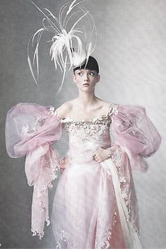 """pivoslyakova:  Audrey Marnay wears a pink organza and tulle dress by Christian Lacroix Haute Couture in """"Age of Opulence ph. by Irving Penn   Vogue US, June 1998."""