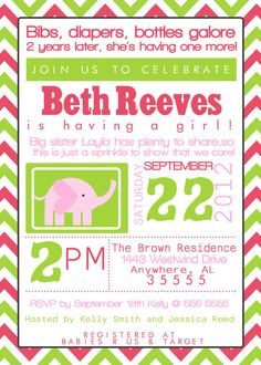 Modern Typography Baby Sprinkle, Shower, Sip and See Invitation/Invite.  Pink, Green, Yellow, Purple, Custom you choose colors