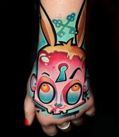 Cartoon Tattoo by Lehel Nyeste | Tattoo No. 12808. That's amazing color!