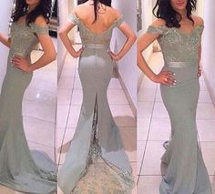 New Style Off Shoulder Grey Spandex Prom Dress,Mermaid Prom Dress 2017,Sexy Prom Dresses,Long Evening Dresses