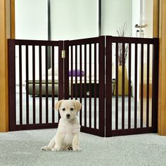 WELLAND Wood Free Standing Folding Pet Gate, 54-Inch, Espresso Finish -- See this great product. (This is an affiliate link and I receive a commission for the sales) #DogCare