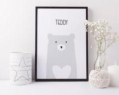 Bear Nursery Print - personalised print - minimalist nursery - scandi style - baby girl gift - baby boy gift - christening gift - uk - heart