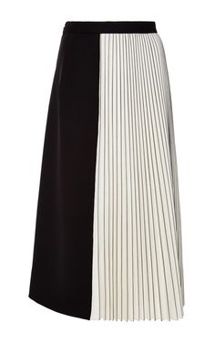 Black And Off White Wool Suiting Pleated Skirt by Proenza Schouler for Preorder on Moda Operandi