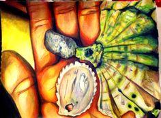 #mixedmedia #coloredpencil #shells #painting