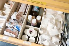 The big void in a drawer invites a mess. The solution: Containerize the inside. Buy an assortment of small bins, but first, cut a piece of paper to the exact size of the drawer's interior. Take it with you to the store to help piece together the combination of bins that works best.