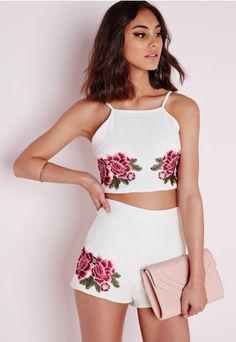 Embroidered Rose Crop Top - Tops - Crop Tops - Missguided | Ireland