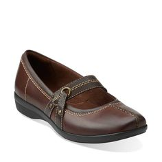 Haydn Maize in Brown Leather - Womens Shoes from Clarks