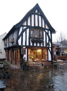 The Old Bakery Tea Rooms, Newark, Nottinghamshire. The Tudor bake house is a medieval timber framed building and the only one (of three) shops to be restored and retained when the surrounding area was redeveloped in the 1970's. Photo credit unknown, sorry.