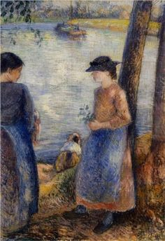 By the Water - Camille Pissarro