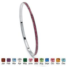 """Round Simulated Birthstone Black Rhodium-Plated Stackable Eternity Bangle Bracelet 7 1/2"""" at PalmBeach"""