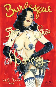 Dita Von Teese art by the famous Olivia De Berardinis for her U.S. 2013 Tour!
