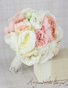 Silk Bride Bouquet Peony Peonies Roses Ranunculus Country Wedding Lace (Item Number 130112). $104.00, via Etsy.