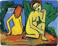Erich Heckel - Two Girls by the Water, 1910