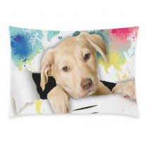 InterestPrint Animal Pug German Shepherd Dog Watercolor World Map Pillowcase Standard Size 20 x 30 Inches One Side - Pug Dog out of Colorful Oil Painting Map Pillow Cases Cover Set Shams Decorative