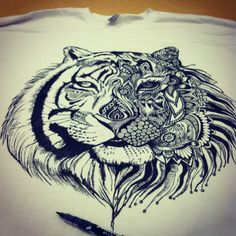 my friend drew this on a shirt as an art project, this would make an awesome tattoo!!