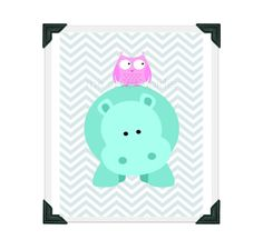 Owl and Hippo - Nursery Room Art Print - 8x10 - Chevron Teal Pink on Etsy, $15.00