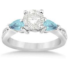 Allurez Diamond & Pear Aquamarine Engagement Ring Platinum (0.79ct) ($2,005) ❤ liked on Polyvore featuring jewelry, rings, white gold, white gold diamond rings, 14k diamond ring, aquamarine diamond ring, three stone diamond ring and aquamarine rings