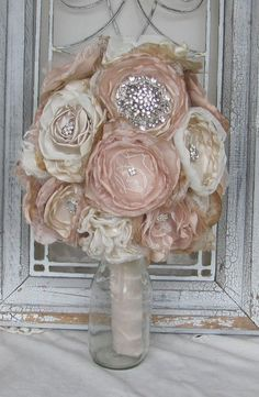 Fabric Bridal  Bouquet Rhinestones Vintage Inspired Custom Made By Burlap And Bling Design Studio on Etsy, $165.00