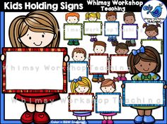 This set of kids holding blank signs can be used all year long to hold your own…