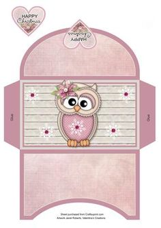 This money wallet goes with my 'Winter Ollie' mini kit . please see the link below How To Make An Envelope, Project Life Scrapbook, Diy And Crafts, Paper Crafts, Printable Box, Money Cards, Step Cards, Box Patterns, Graphics