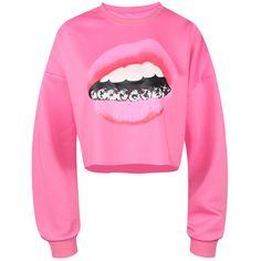 Lip Print Long Sleeve Cropped Sweatshirt ($99) ❤ liked on Polyvore featuring tops, hoodies, sweatshirts, cropped sweatshirt, lips crop top, lips sweatshirt, pink top and long sleeve tops