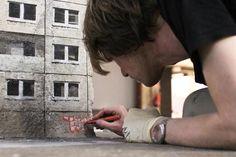 Evol street art - Palais de Tokyo - Lasco Project - Photo by Nicolas Gzeley © 2014 - Land Art, Urban Landscape, Spray Painting, Graffiti Art, Art Museum, Contemporary Art, Projects, Concrete Blocks, Stencils