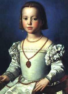 6. Portrait of Bianca de Medici by Bronzino. ca. 1542. The girl wearing tight fitted bodice, puffed on the upper arms sleeves and wide skirt, golden belt on her waist and jewelry. We can see the corner of her camicia as well. She dressed up exactly like adult women.