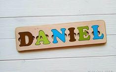 Personal Name puzzles is a wonderful gift for a child.Wood Name Puzzle develops:fine motor skills, coordination of movement, attention and assiduity, logical thinking and memory.*** DESCRIPTION NAME PUZZLEThe height of the board is 4.0 inches (10 cm);The thickness of the board is 0.4 inches (1.0 cm);The length of the board depends on the number of letters. The maximum number of letters per line is 9.The height of the letter is 2.2 inches (5.5 cm);The thickness of the letter is 0.2 inches (0.5 cm Jigsaw Puzzles For Kids, Puzzles For Toddlers, Wooden Puzzles, Educational Games For Kids, Fun Games For Kids, Diy For Kids, Puzzle Logo, Name Puzzle, Baby Girl Toys