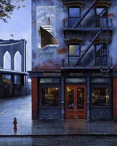New York Street Art: ~ Brooklyn Bridge Cafe Brooklyn Bridge, Brooklyn Bar, Christophe Jacrot, New York City, New York Street Art, A New York Minute, Voyage New York, I Love Nyc, City That Never Sleeps