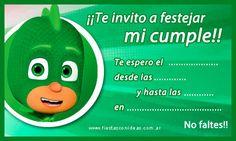 PJ Mask - tarjeta de cumpleaños de Gekko. Calidad para imprimir Pjmask Party, Festa Pj Masks, Kids Dishes, Ideas Para Fiestas, Happy B Day, Birthday Invitations, Balloons, Birthdays, Birthday Parties
