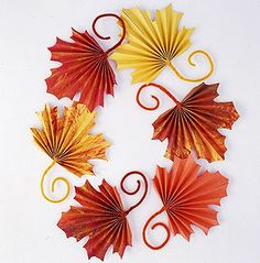 Paper Fall Leaves - Source:  http://www.bhg.com/thanksgiving/crafts/fan-folded-leaves-for-kids-to-craft-for-thanksgiving/