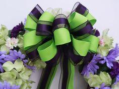Green Eggplant Purple Wedding Pew Bow Aubergine Bow by greentraderllc, Eggplant Purple Wedding, Purple And Green Wedding, Green Eggplant, Dark Purple, Wedding Pews, Diy Wedding, Wedding Church, Gothic Wedding, Wedding Stuff
