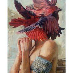 Los pájaros buscan a su madre, Los pájaros quieren cacarear.  (Paint: Meghan Howland)