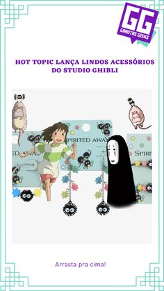 Acessórios dos mais aclamados filmes do Studio Ghibli, como A Viagem de Chihiro, O serviço de entregas da Kiki, Castelo Animado e muito mais! Hot Topic, Geeks, Geek Stuff, Comics, Movie Posters, Spirited Away, All Anime, Castle, Girls Girls Girls