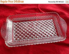 ON SALE Vintage Rectangular Diamond Point Glass Serving Dish, Cut Glass Condiment tray with handles, Sawtooth edged rectangular pickle Glass Tray, Cut Glass, Styling A Buffet, Diamond Point, Up House, Tea Service, Serving Dishes, Pickles, Vintage Items