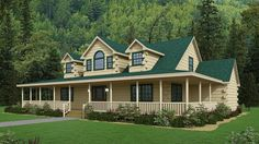 Log Cabin with Wrap Around Porch - The Bristol Log Cabin Home Kits, Log Home Plans, New House Plans, Cabin Style Homes, Log Cabin Homes, Log Cabins, Cabins In The Woods, House In The Woods, Log Cabin Builders