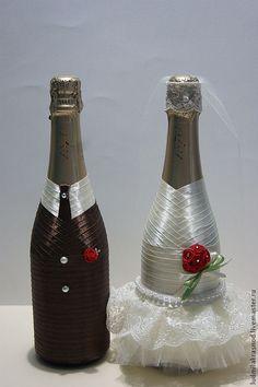 Купить свадебное шампанское (быки) <strong>шампанское сиреневое на свадьбу своими руками</strong> - свадьба, свадебные аксессуары, свадебное украшение, свадебные бокалы
