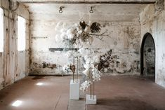 Inimitable installations of bold blooms and dried varieties in collaboration with Mrs Gibbons Flowers. Neutral Wedding Flowers, Floral Wedding, Flower Decorations, Wedding Decorations, Flower Installation, Ethereal Beauty, Dried Flowers, Wedding Designs, Wedding Ideas