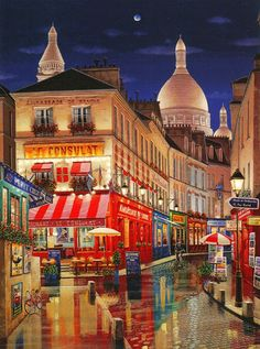 PARIS BY NIGHT Hand-pulled Deluxe serigraph on Gesso Board 40 x 30 inches Edition size 325 by Liudmila Kondakova Illustrations, Illustration Art, Arte Country, City Painting, Paris Art, Naive Art, Sacred Art, Online Art Gallery, Monuments