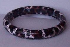 Black Brown White Animal Print Leopard Bangle Bracelet