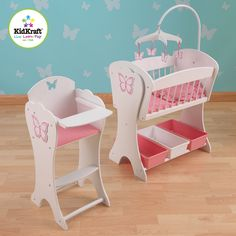 KidKraft   Pretty Butterfly Doll Furniture Set Dual Set, The High Chair Andu2026