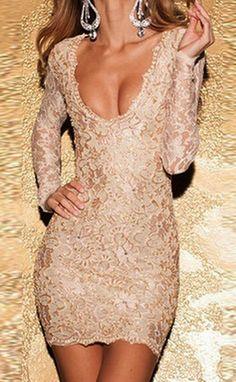 Sexy V-neck long-sleeved dress