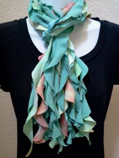 Recycled Scalloped T Shirt Scarf Tie Dye by LonestarFashions, $14.00