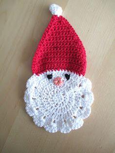 kerstman, onderzetter, gehaakt, heyleuk, haken Christmas Time, Christmas Crafts, Christmas Decorations, Christmas Ornaments, Christmas Ideas, Christmas Crochet Patterns, Crochet Christmas, Beautiful Crochet, Textile Art