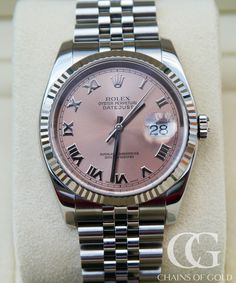Gorgeous Rolex Datejust featuring a pink dial, a fluted white gold bezel and a jubilee bracelet. Certified and with Rolex box. Buy your watch with confidence